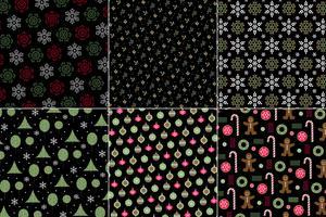 wintervakantie Kerst patronen op een zwarte achtergrond