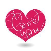 Ik hou van je tekst in rood hart. Vector kalligrafie en belettering van EPS10