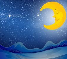 Een slapende maan vector