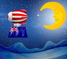 Een drijvende ballon met de vlag van Nieuw-Zeeland