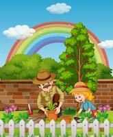 Vader en dochter die boom in tuin planten vector