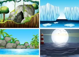 Vier verschillende scènes met oceaan en berg