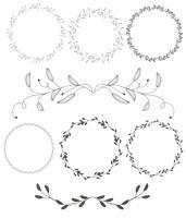 reeks ronde bloeien vintage decoratieve whorls frame bladeren geïsoleerd op een witte achtergrond. Vectorkalligrafieillustratie EPS10