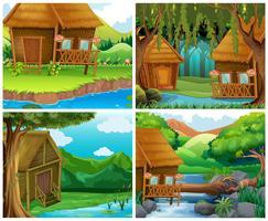 Houten huizen in het bos