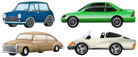 Vier verschillende soorten auto's