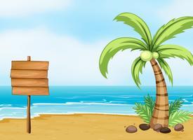 Een kokospalm en een leeg bord op het strand vector