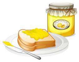 Een brood met een boterham verspreid