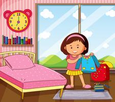 Meisje dat kleding in slaapkamer krijgt