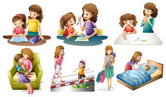 Moeder en kind in verschillende acties vector