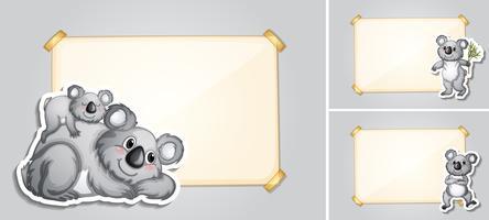 Drie grenssjablonen met koala's vector