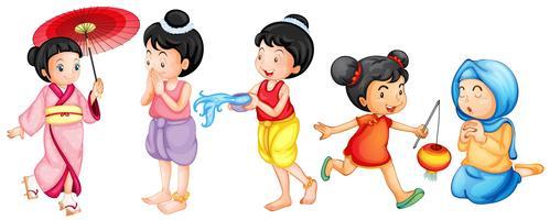 Aziatische meisjes vector