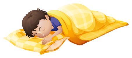 Een jonge man die degelijk slaapt vector