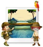 Jongen en meisje die door de rivier kamperen vector