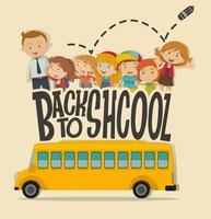 Terug naar schoolthema met leraar en leerlingen