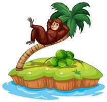 Een eiland met een gorilla