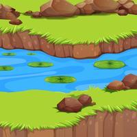 Een vlak rivierlandschap vector