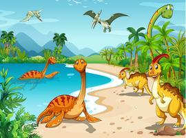 Dinosaurussen leven op het strand vector