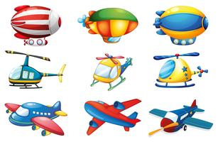 Vliegtuigen en ballonnen vector