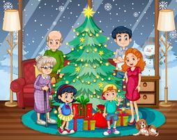 Familiebijeenkomst op Kerstmis vector