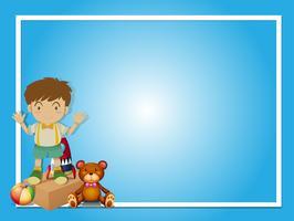 Grens sjabloon met jongen en teddybeer