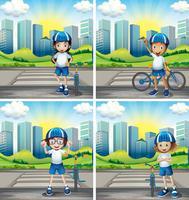 Vier kinderen met helm en fiets op straat vector