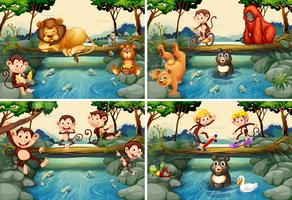 Vier scènes met wilde dieren in de rivier