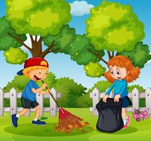 Jongen en meisje schoonmaak tuin