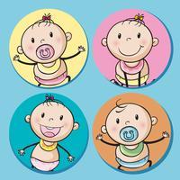 Babyjongens en meisjes op ronde badge vector