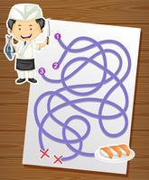 Een puzzel doolhof spel sushi thema