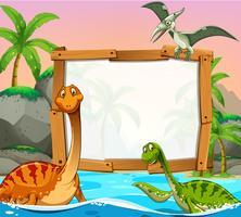 Grensmalplaatje met dinosaurussen in de oceaan