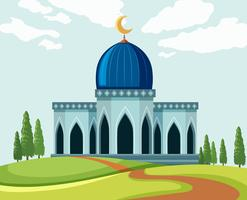 Een prachtige moskee lanscape vector