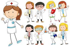 Verpleegkundigen en artsen op witte achtergrond