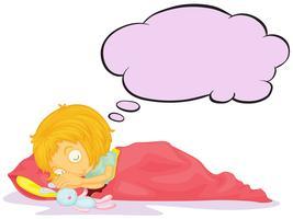 Een meisje droomt met een lege callout vector