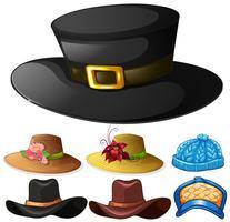 Verschillend ontwerp van hoeden voor mannelijk en vrouwelijk
