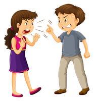 Man en vrouw vechten