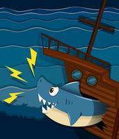 Scheepswrak en haaienaanval onder water vector