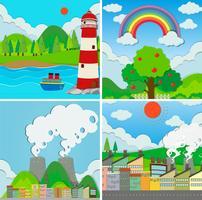 Vier scènes van oceaan en stad