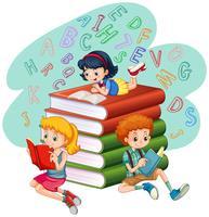 Drie kinderen die boeken lezen vector