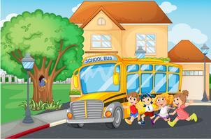 Studenten die op de schoolbus stappen vector