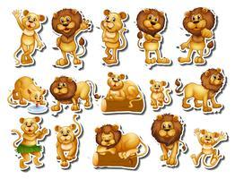 Sticker set van leeuwenfamilie vector