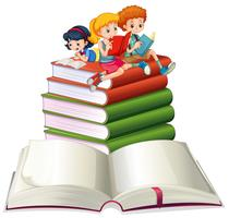 Jongen en meisjes die boeken lezen vector