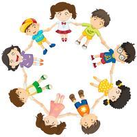 Kinderen vormen een cirkel