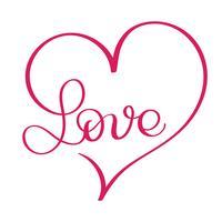 Liefdeswoord in rood hart. Vector kalligrafie en belettering van EPS10