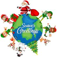 Kerst element op de wereldbol