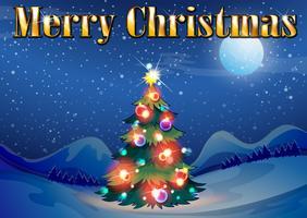 Een sprankelende kerstboom midden in de nacht vector