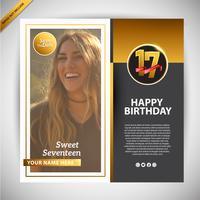 Gelukkige verjaardag Sweet Seventeen Gold Social Media Banner promotie vector