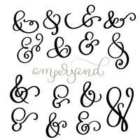 vector set Vintage teken en Ampersand op witte achtergrond. Kalligrafie belettering illustratie EPS10