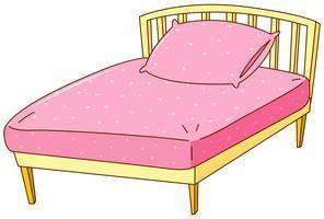 Bed met roze laken en kussen vector