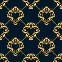 Heilig hart en gouden ketting op zwarte blauwe achtergrond. Naadloos patroon. Vector illustratie