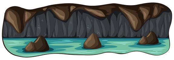 Een enge ondergrondse riviergrot vector